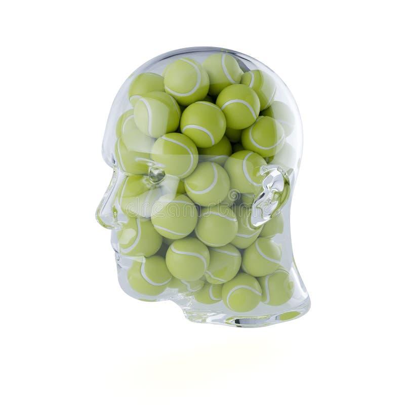Det Glass genomskinliga mänskliga huvudet fyllde med tennisbollar vektor illustrationer
