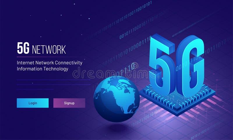 Det globala för nätverksuppkopplingsmöjlighet för internet 5G begreppet baserade svars- stock illustrationer
