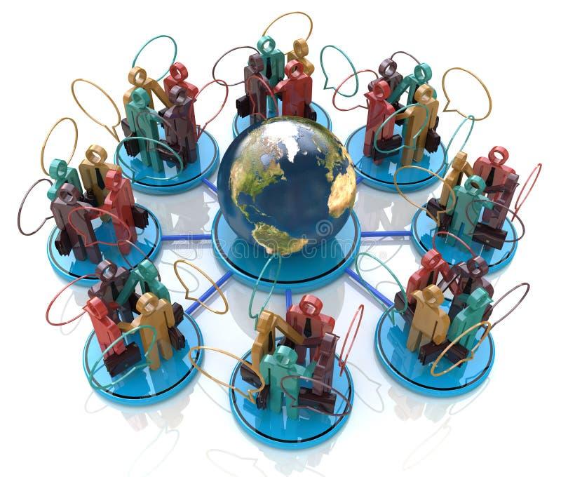 det globala kommunikationsbegreppsgallerit mer mitt ser bilden för nätverket 3d framförde samkväm stock illustrationer