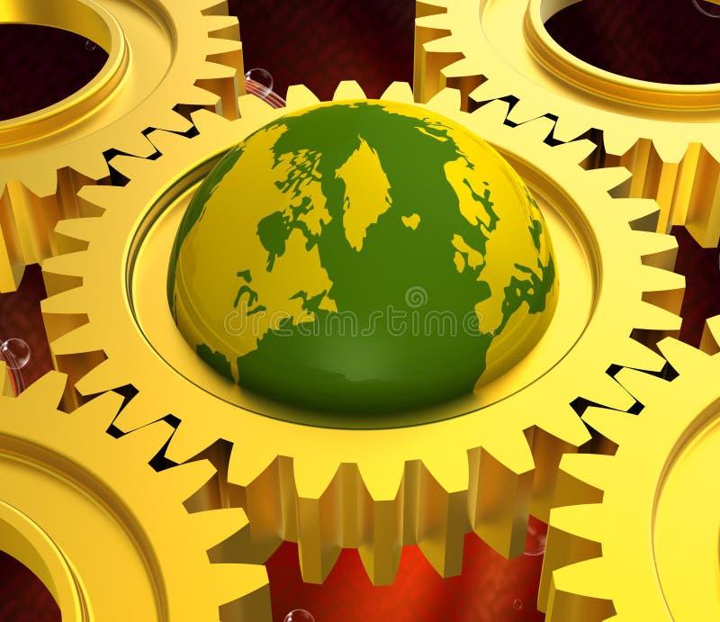 Det globala nätverket betyder det tangentbordkommunikation och jordklotet vektor illustrationer