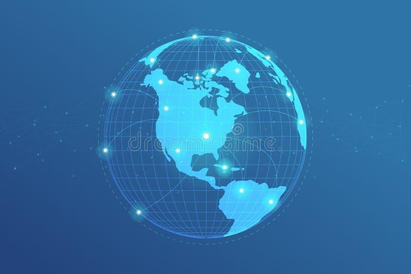 Det globala nätverket fodrar anslutning Världskartapunkt med prickanslutningsbegrepp av bakgrund för global affär stock illustrationer