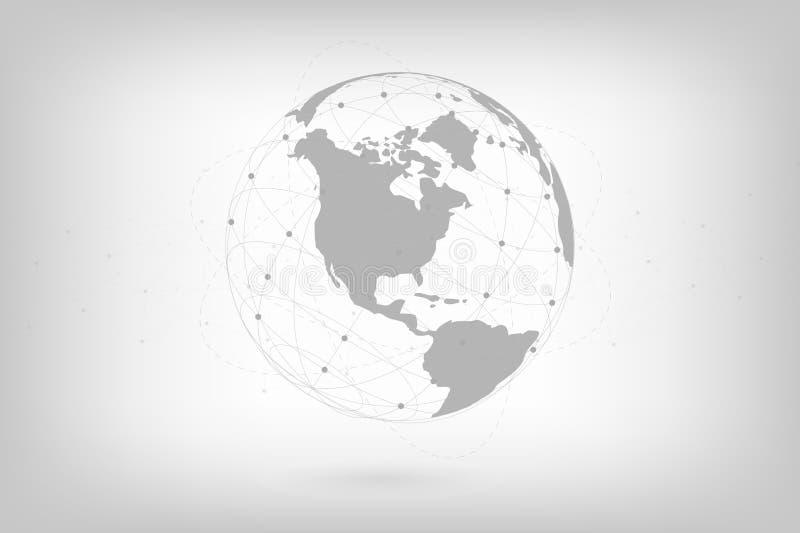 Det globala nätverket fodrar anslutning Världskartapunkt med prickanslutningsbegrepp av bakgrund för global affär royaltyfri illustrationer