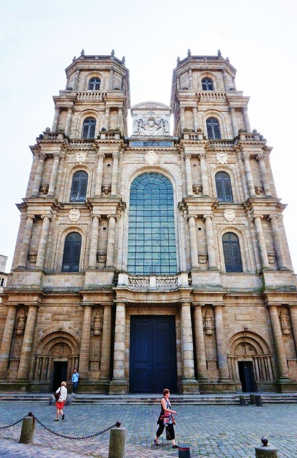 Det gotiska Cathedrale helgonet Pierre de Rennes royaltyfri foto