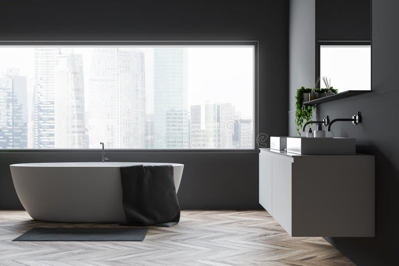 Det gråa badrummet med badar och sjunker stock illustrationer