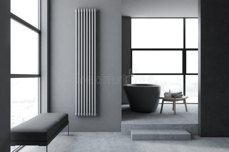 Det gråa badrummet med badar och tar av planen vektor illustrationer