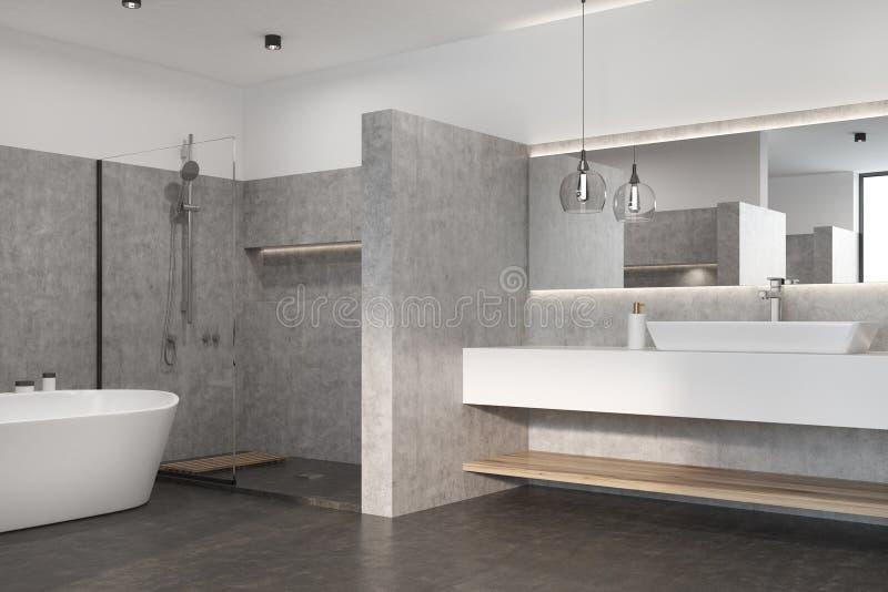 Det gråa badrummet med en vit badar, sjunker stock illustrationer