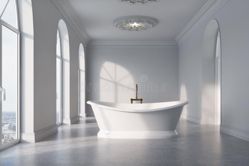 Det gråa badrummet, original- vit badar royaltyfri illustrationer