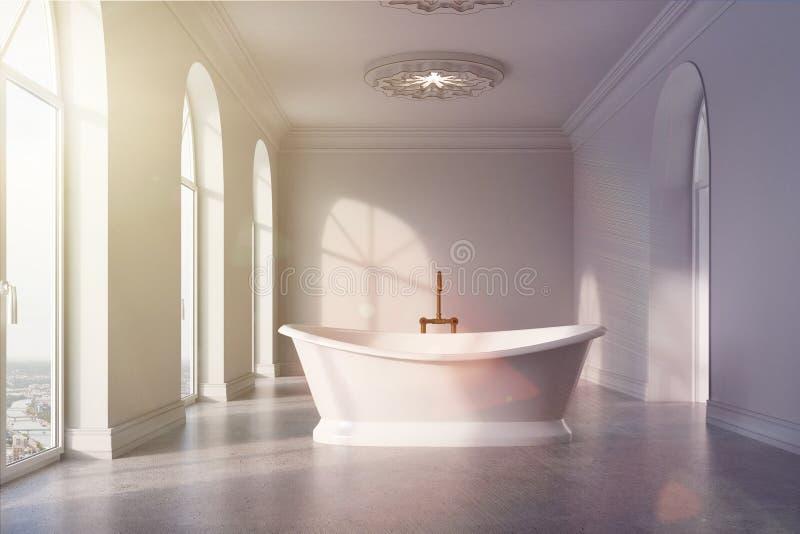 Det gråa badrummet, original- vit badar tonat stock illustrationer