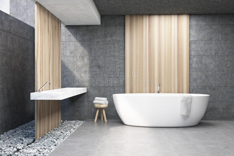 Det gråa badrummet, vit badar, beklär vektor illustrationer