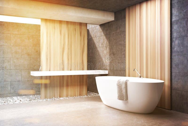 Det gråa badrummet, vit badar, sid, tonat stock illustrationer