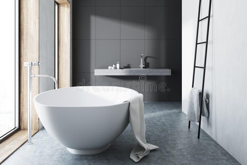 Det gråa badrummet, vit badar, stegen, betonggolv stock illustrationer