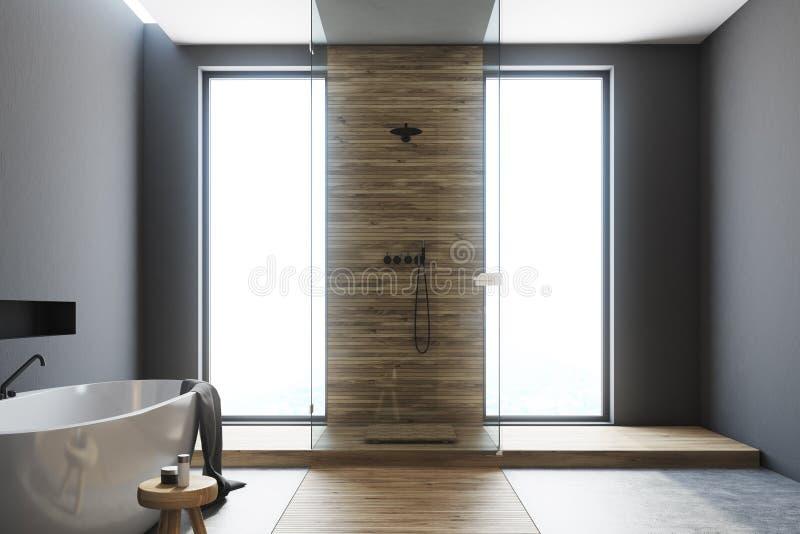 Det gråa och träbadrummet, vit badar stock illustrationer