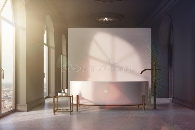 Det gråa och vita badrummet, runda badar tonat stock illustrationer