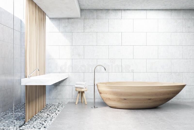 Det gråa tegelstenbadrummet som är trä badar, beklär vektor illustrationer