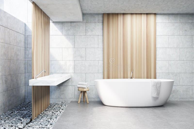 Det gråa tegelstenbadrummet, vit badar, beklär royaltyfri illustrationer