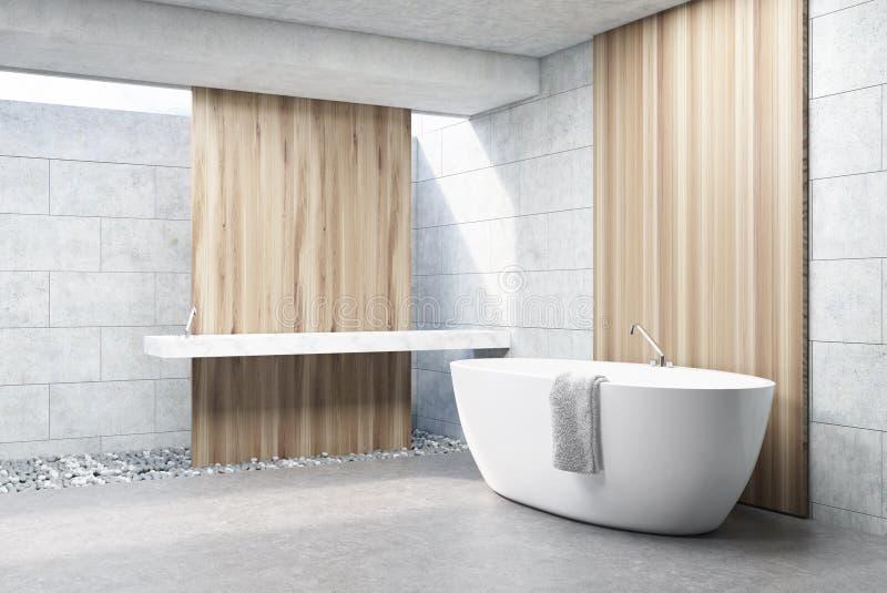 Det gråa tegelstenbadrummet, vit badar, sid royaltyfri illustrationer