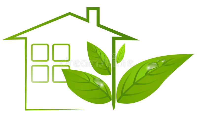 Det gröna ecohuset med leafs och bevattnar tappar vektor illustrationer