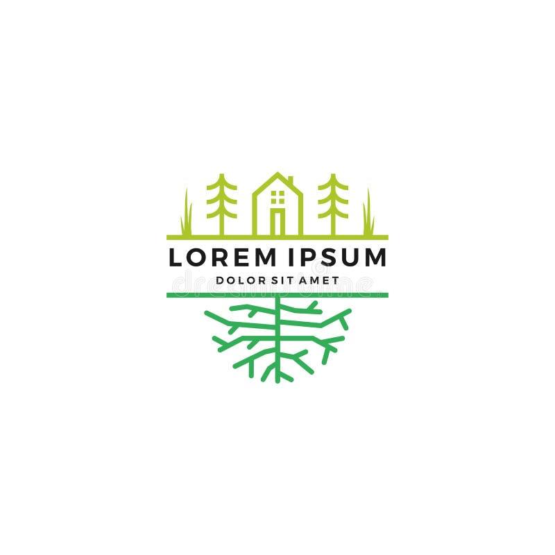 det gröna hem- trädgårdträdet rotar logo royaltyfri illustrationer