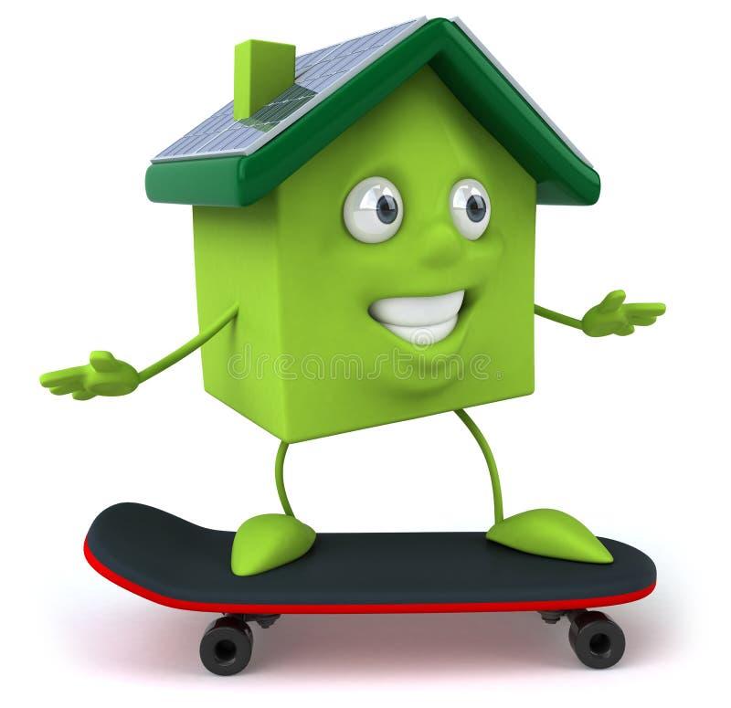 det gröna huset panels sol- stock illustrationer
