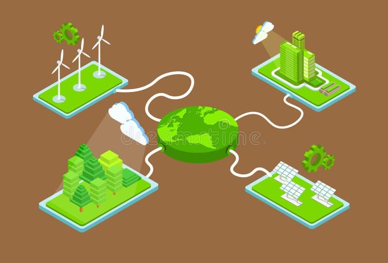 Det gröna tornet för turbinen för vind för panelen för sol- energi för den planetladdningsFromm stationen återanvänder teknologib stock illustrationer