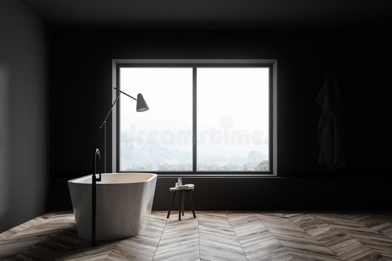Det gr?a badrummet med badar och f?nstret vektor illustrationer