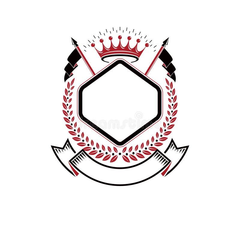 Det grafiska emblemet komponerade genom att använda den majestätiska kronan och flaggor Heraldisk isolerad vektor för vapensköld  royaltyfri illustrationer