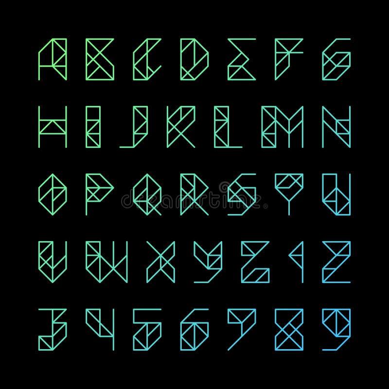 Det Gridline alfabetet märker och nummer stock illustrationer