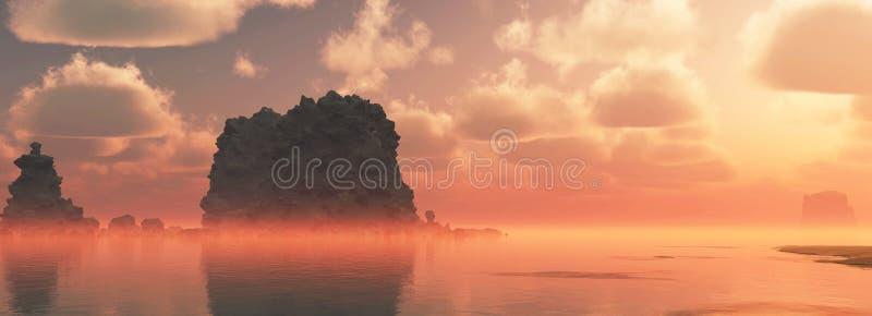 Det grova kust- landskapet med stort vaggar och molnig himmel på solnedgången Mist över bevattnar stock illustrationer