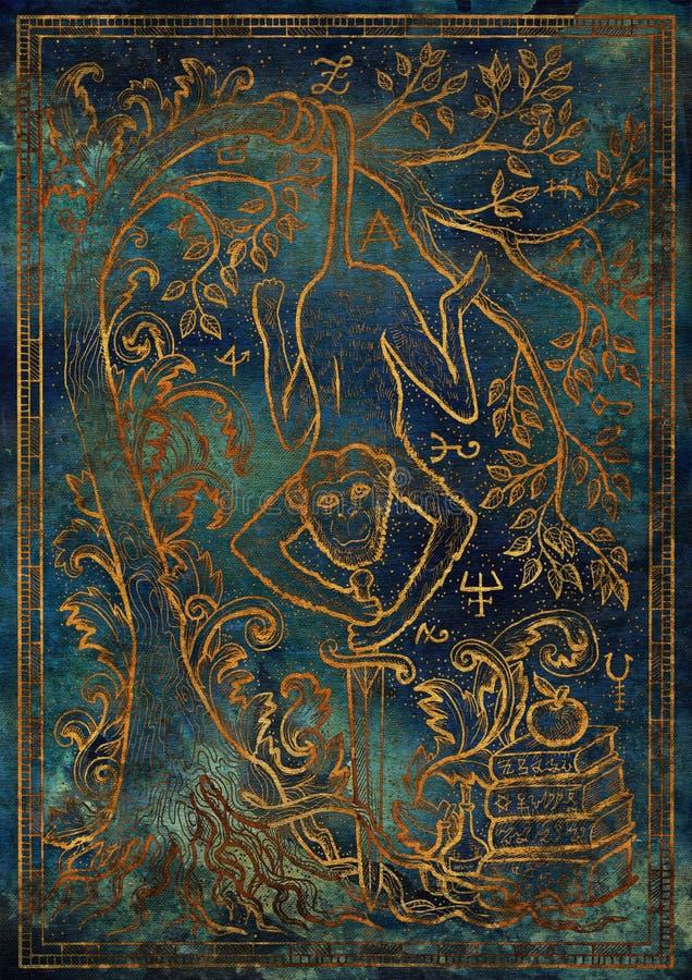 Det guld- apasymbolet med svärdet, böcker, det barock dekorerade trädet och mystikertecknet på blått texturerar bakgrund stock illustrationer