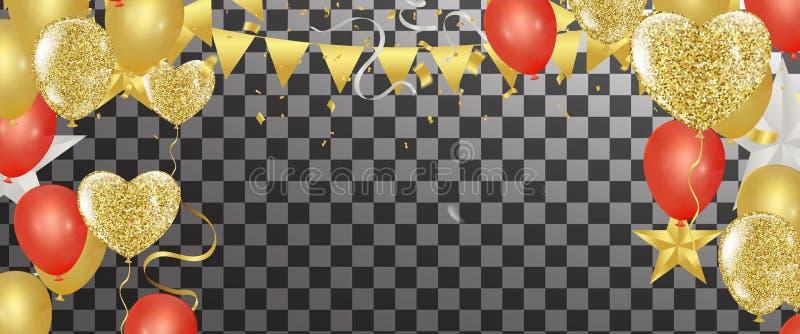 Det guld- banret för konfettiberömpartiet med guld sväller backgr stock illustrationer