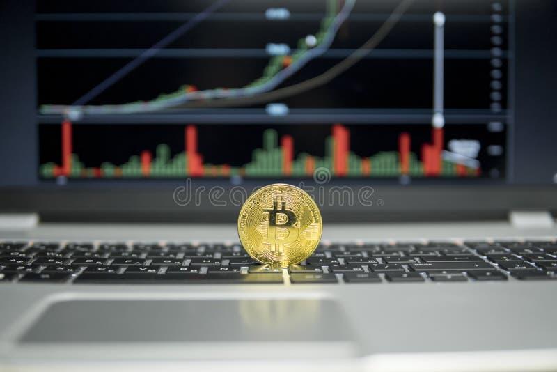 Det guld- bitcoinmyntet på ett silvertangentbord av bärbara datorn och diagrammet kartlägger grafen på en skärm som en bakgrund f arkivfoton