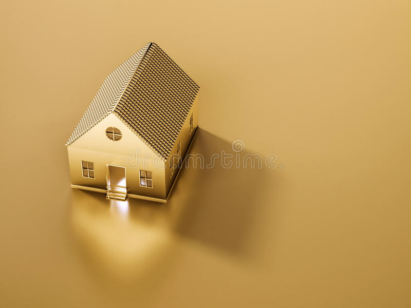 Det guld- huset och land med kopian gör mellanslag, det abstrakta begreppet, framförd 3d royaltyfri illustrationer