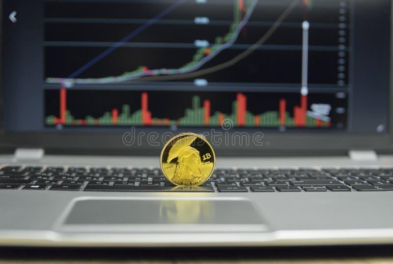 Det guld- jättebitcoinmyntet på ett silvertangentbord av bärbara datorn och diagrammet kartlägger grafen på en skärm som en bakgr royaltyfria foton