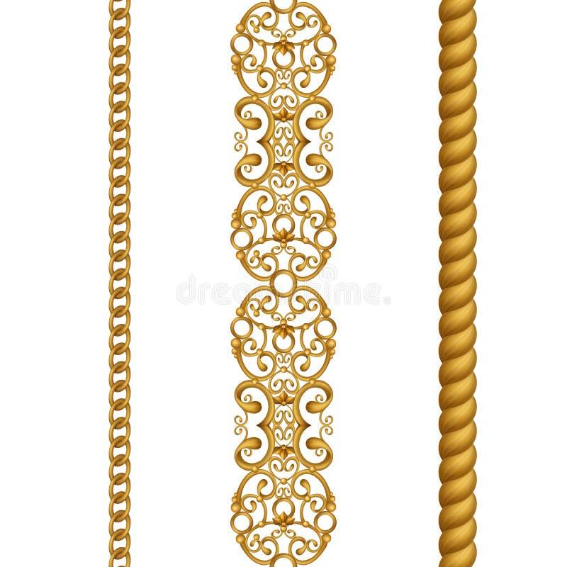 Det guld- klassiska chain repet snör åt sömlös gränsgemkonst som isoleras på vit bakgrund stock illustrationer