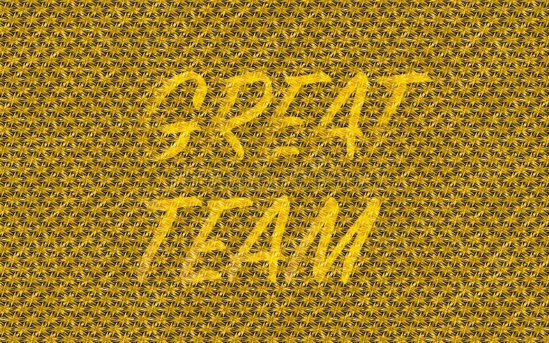 Det guld- laget göra sammandrag färgad texturerad guld, sliten bakgrund för väder med det stora laget för ordet vektor illustrationer