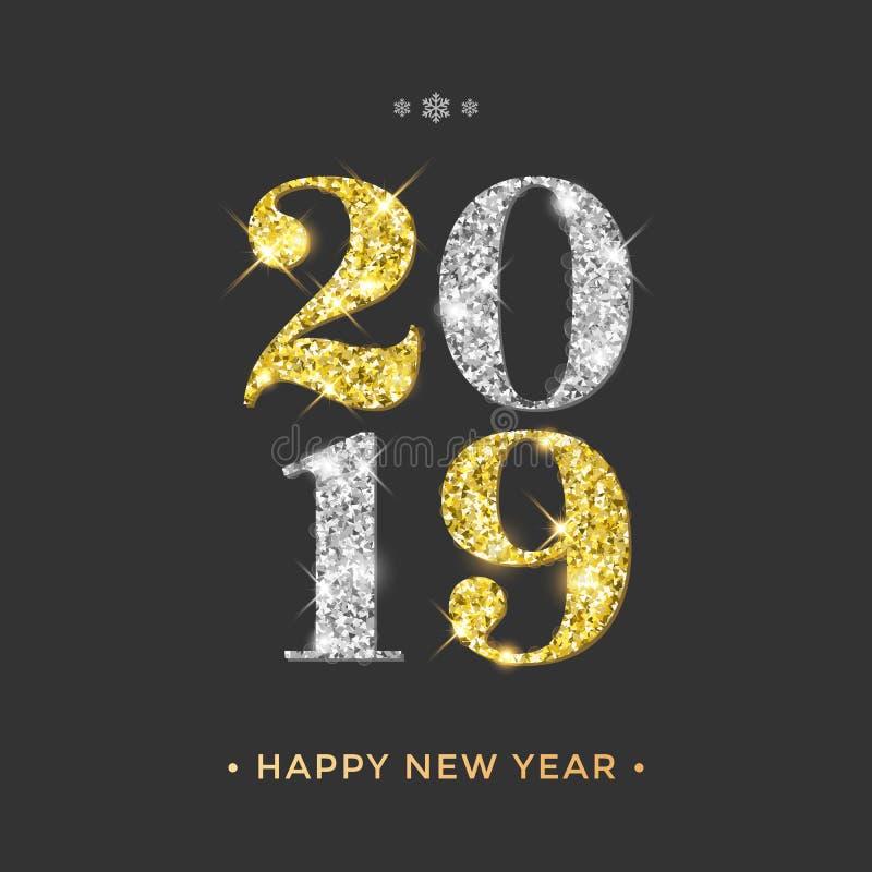Det guld- lyckliga nya året blänker vektorhälsningkortet vektor illustrationer