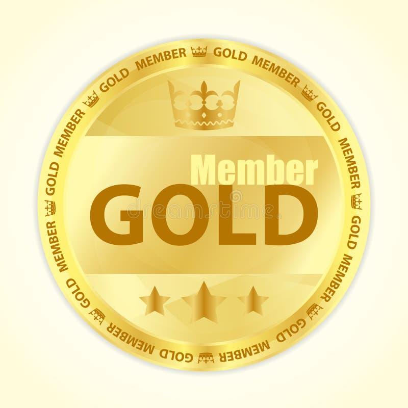Det guld- medlememblem med kunglig person krönar och tre guld- stjärnor royaltyfri illustrationer
