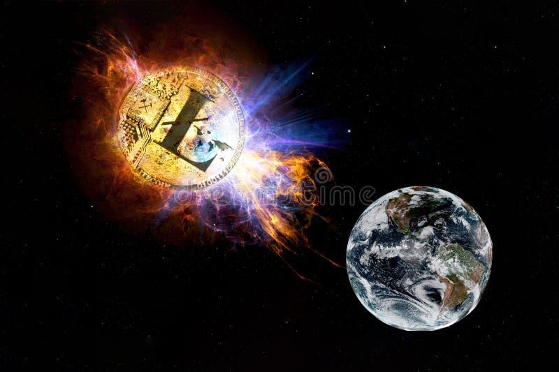 Det guld- myntet av litecoin faller till jordningen från utrymme royaltyfri illustrationer