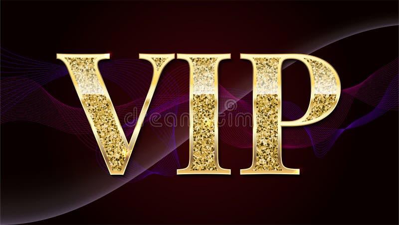 Det guld- symbolet av exclusivity, etikettstorgubben med blänker Mycket viktig person - storgubbesymbolen på elit, gör sammandrag royaltyfri illustrationer
