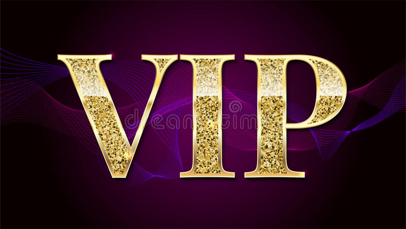 Det guld- symbolet av exclusivity, etikettstorgubben med blänker Mycket viktig person - storgubbesymbolen på elit, gör sammandrag stock illustrationer