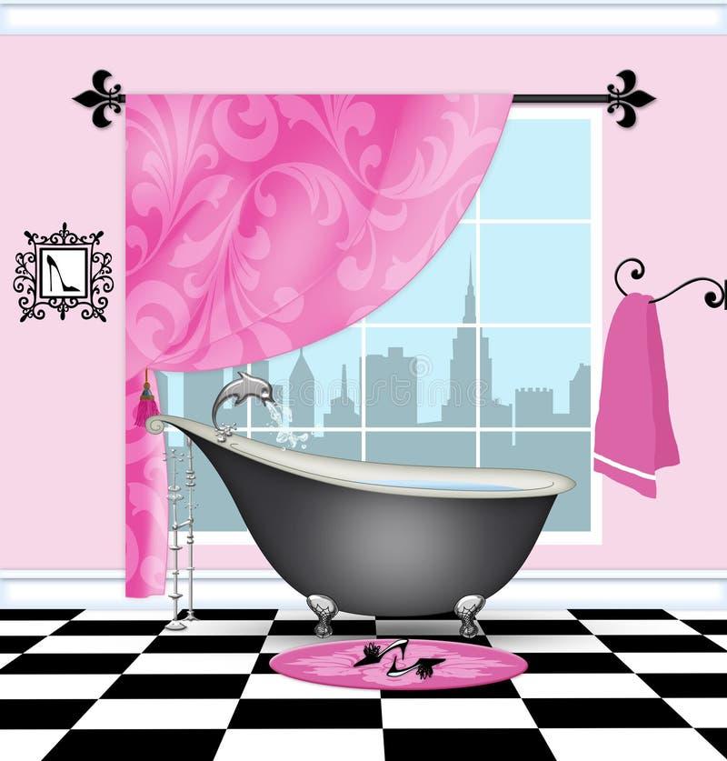 Det gulliga badrummet med tappningJordluckrare-foten badar royaltyfri illustrationer