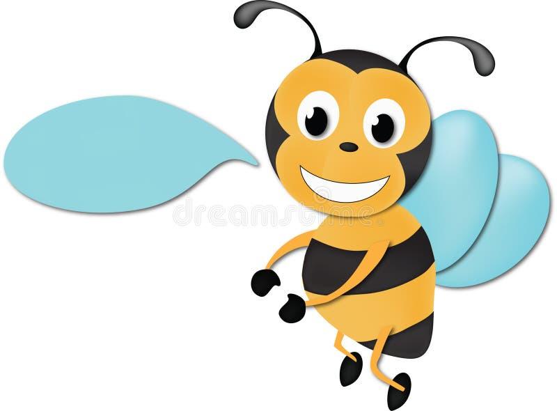 Det gulliga biet med undertecknar royaltyfri illustrationer