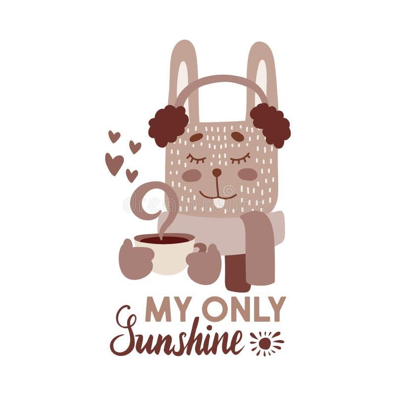 Det gulliga djuret med kaffe rånar sepiavektorillustrationen Älskvärd kanin i earmuff och halsduk med den varma drinkkoppen vektor illustrationer