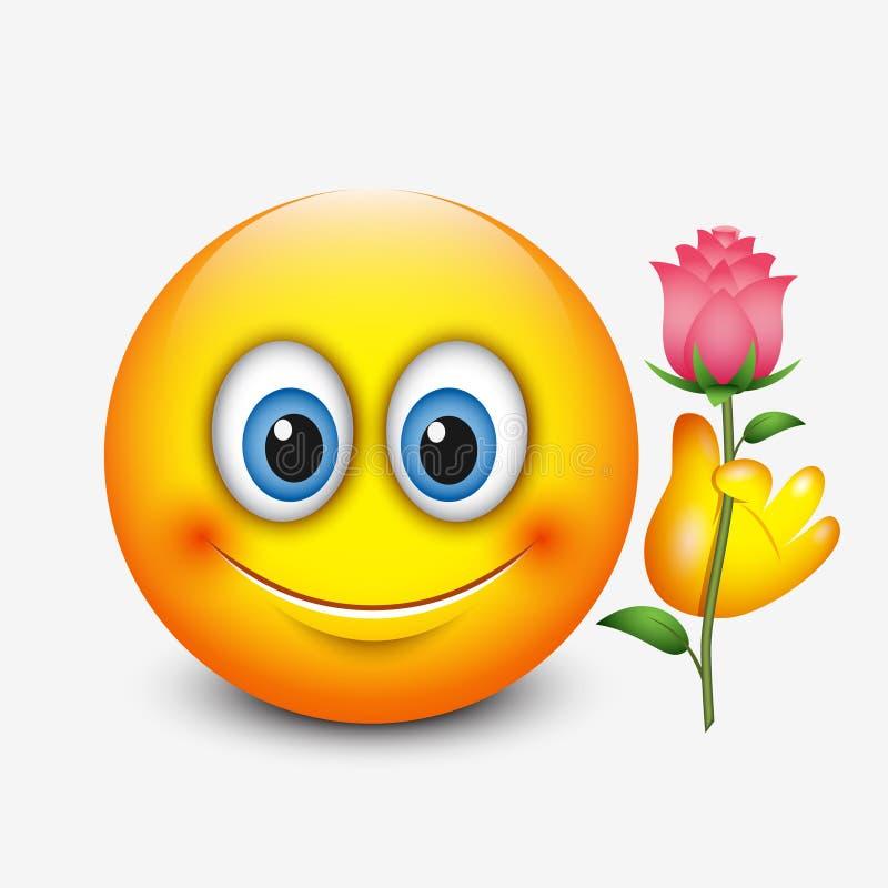 Det gulliga emoticoninnehavet steg - den Sanka dagen för valentin` s - emojien - vektorillustration royaltyfri illustrationer
