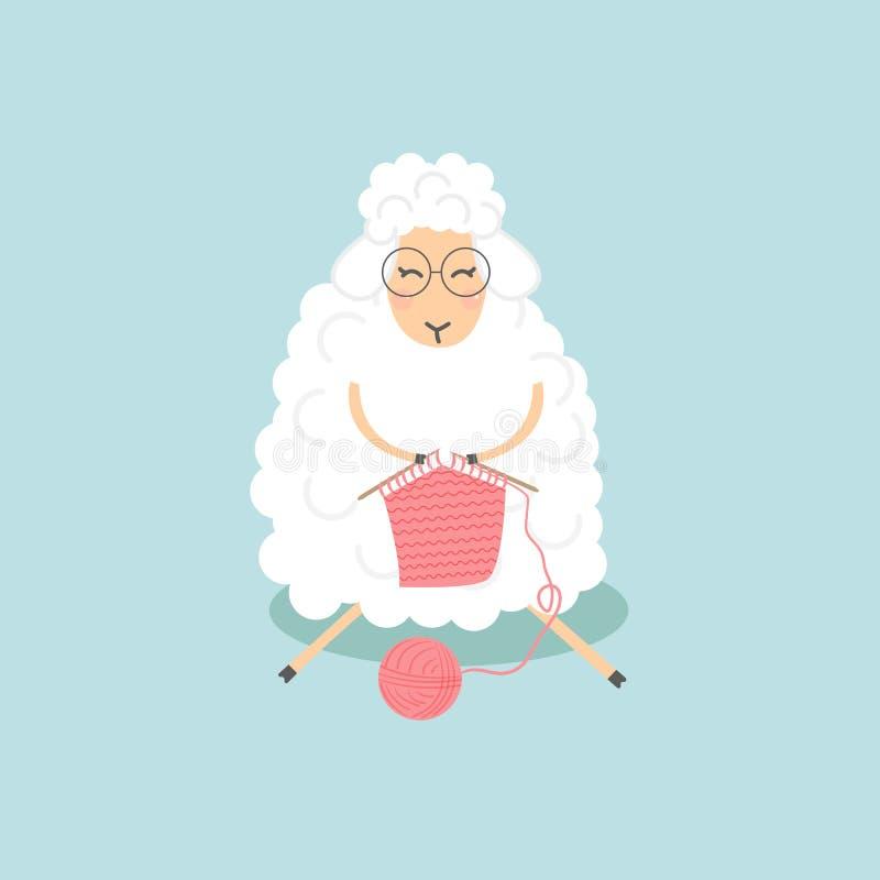 Det gulliga fåret med exponeringsglas sticker Sitta med den lilla förtjusande woolen djura tecknade filmen för hobby också vektor stock illustrationer