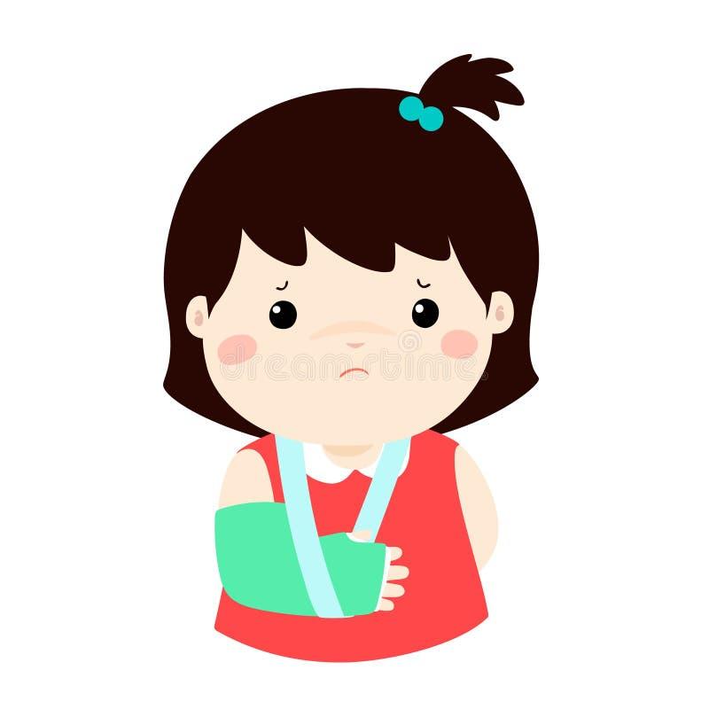 Det gulliga flickahandbenet som är brutet från olycka med armen, spjälkar stock illustrationer