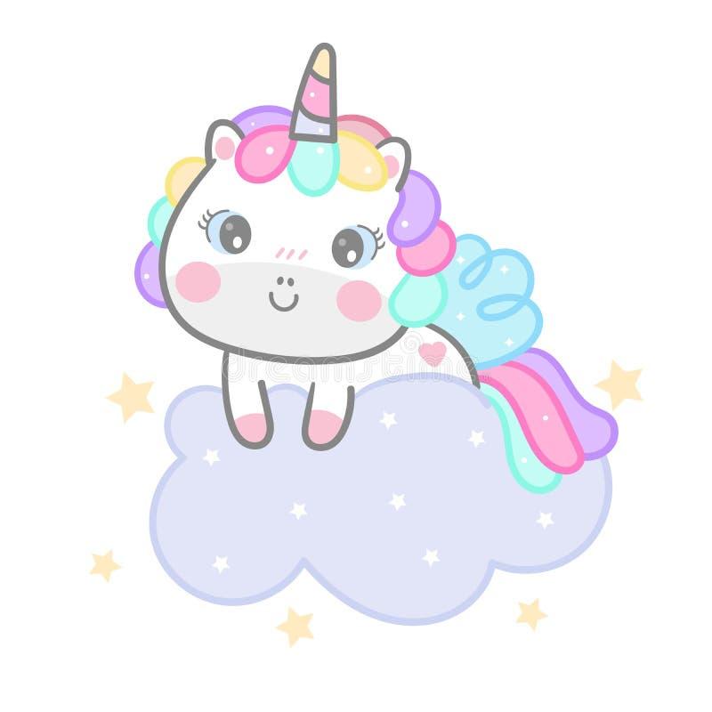 Det gulliga Kawaii för hästen för enhörningtecknad filmponnyn djuret på för sängtid för molnet den söta dröm- berättelsen för ung stock illustrationer