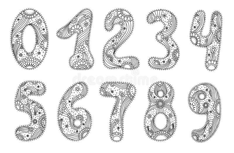 Numrerar i blom- utformar royaltyfri illustrationer