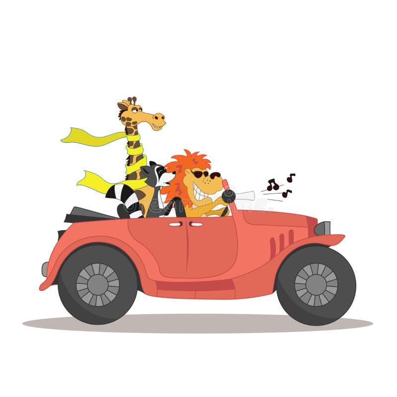 Det gulliga kortet för rolig tecknad filmstil för barn där är roliga djur i bilcabrioletillustrationen som isoleras på vit royaltyfri illustrationer