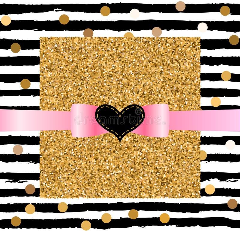 Det gulliga kortet med guld- konfettier blänker stock illustrationer